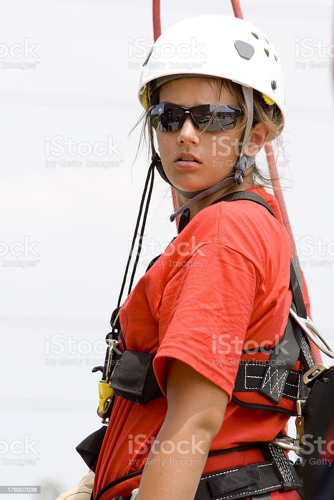 Ready to Rappel 3 stock photo