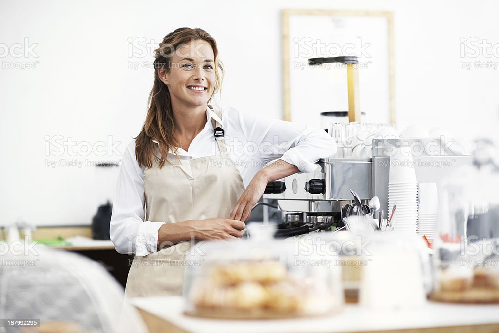 Ready to serve you royalty-free stock photo