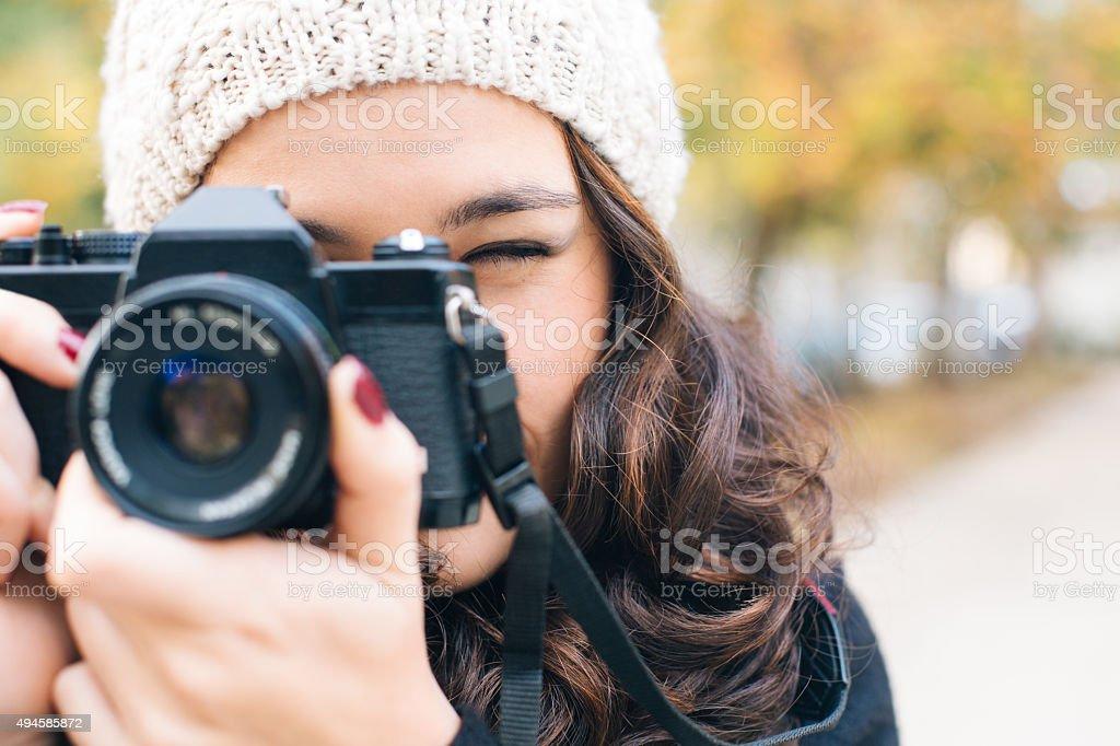 Ready to shoot camera stock photo