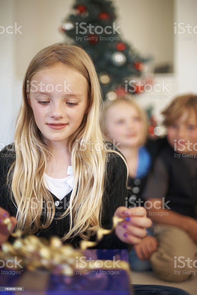 Ready to unwrap her gift royalty-free stock photo