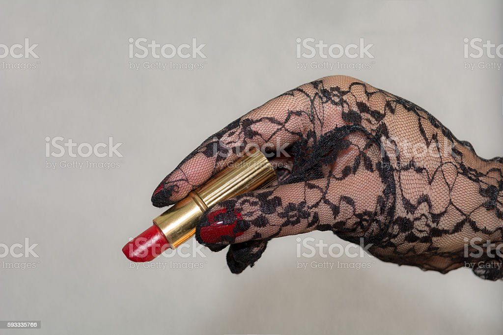 Ready to write with vintage red lipstick stock photo