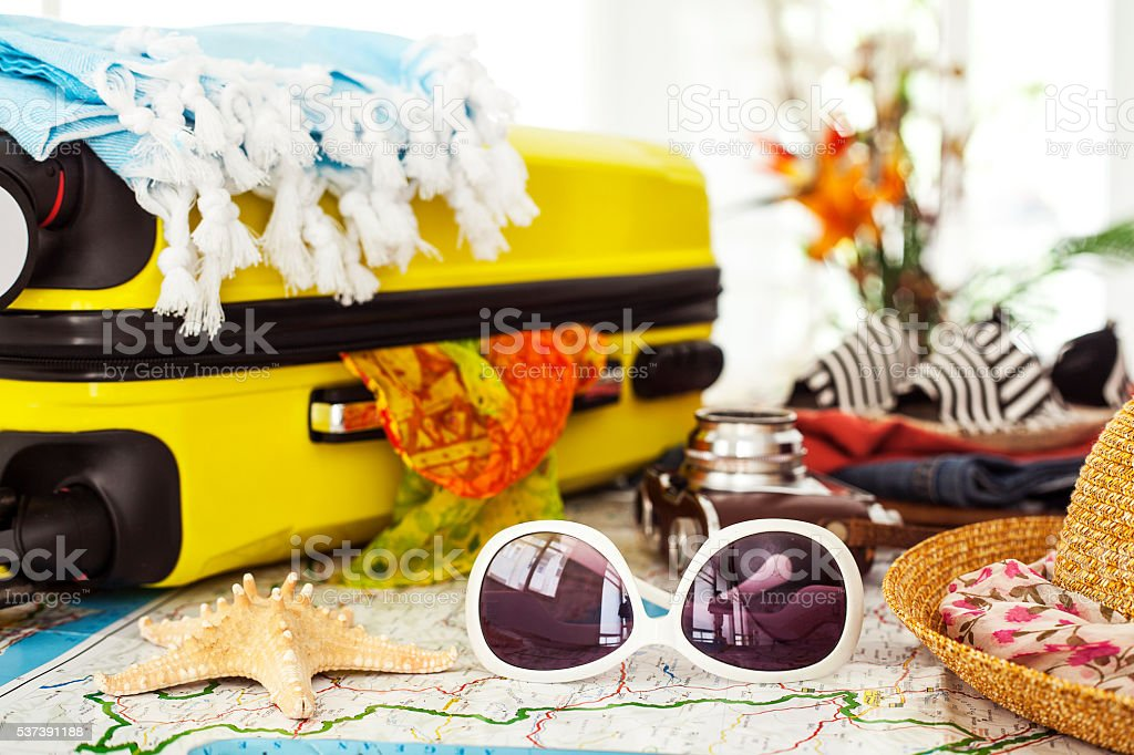 Ready vacation suitcase, holiday concept stock photo