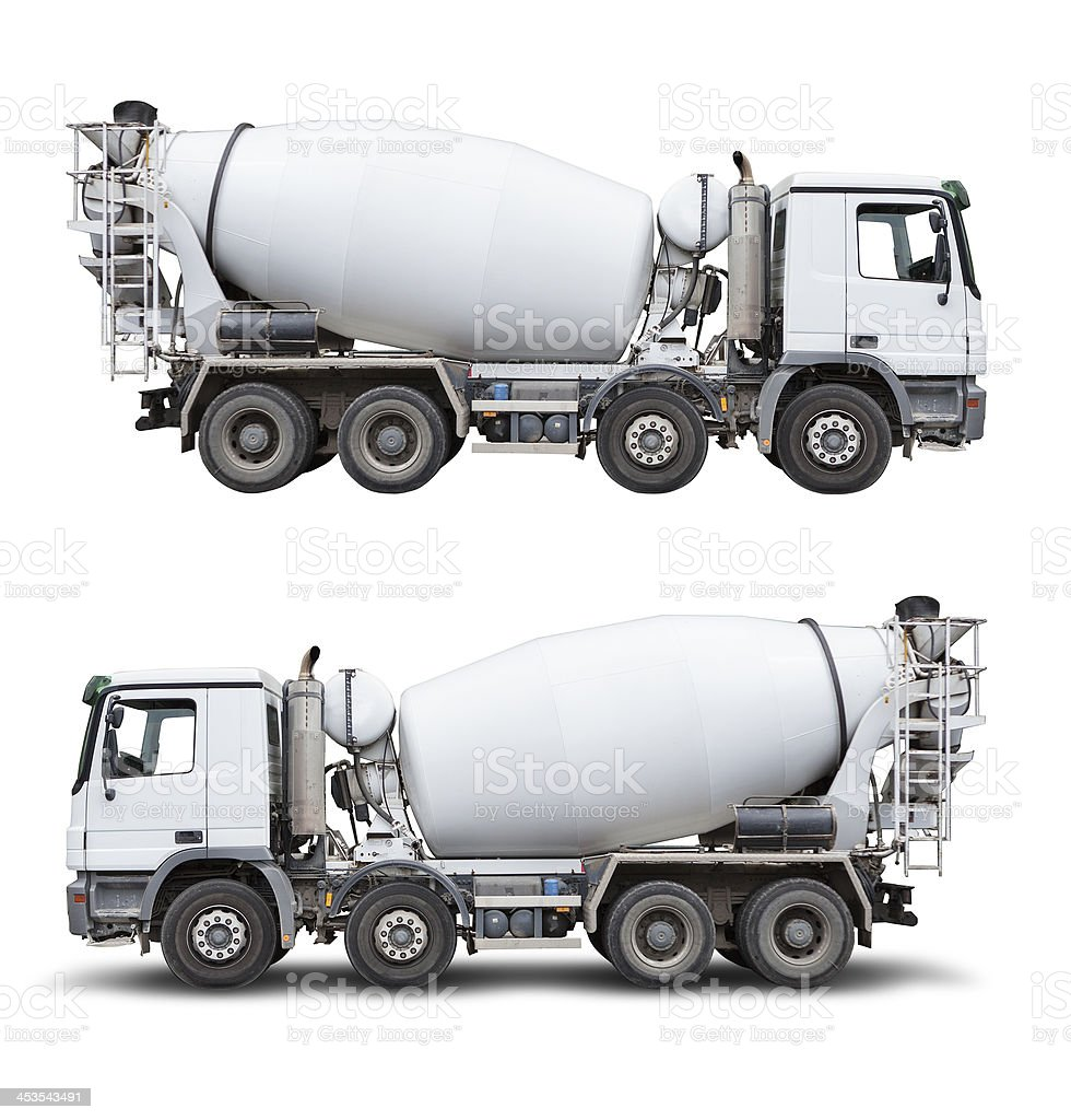 Ready-mix truck, isolated on white with clipping path royalty-free stock photo