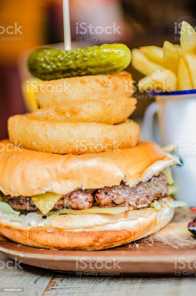 Ready-to-eat junk food hamburger background stock photo