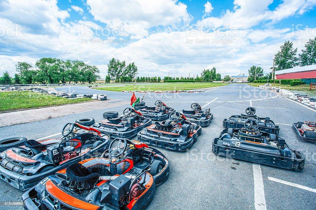 Ready-to-go racing carts stock photo
