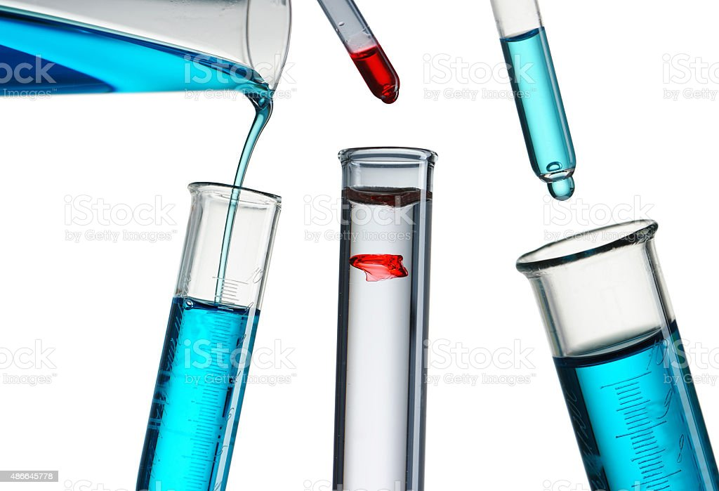 Reagent pouring stock photo