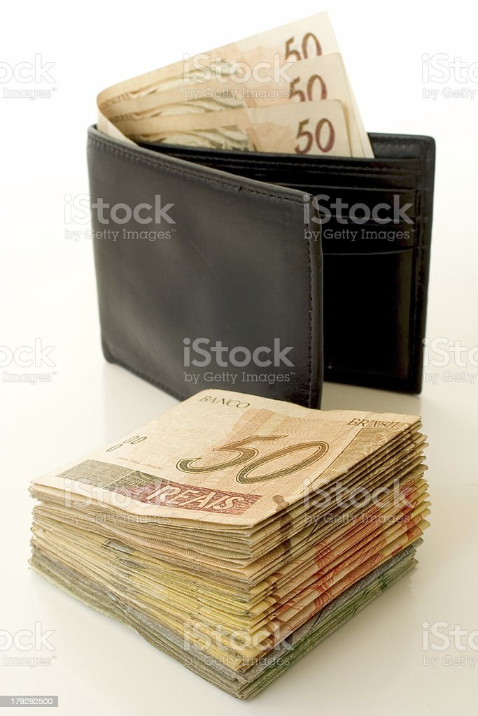 Reais in a wallet royalty-free stock photo