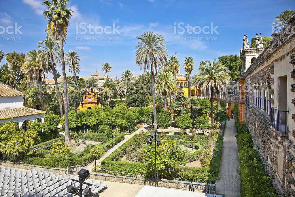 Real Alcazar Gardens in Seville, Spain on a nice day stock photo