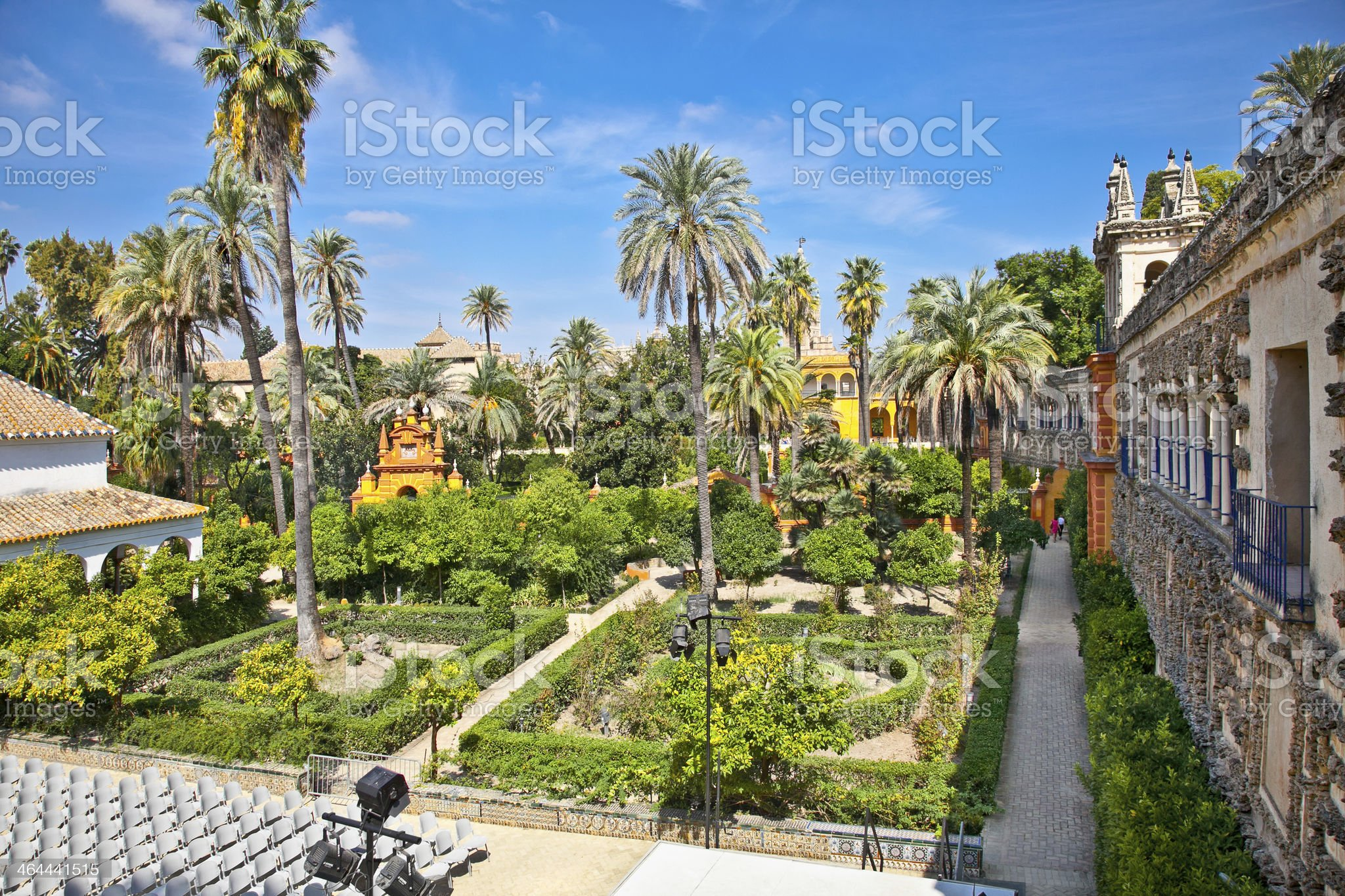 Real Alcazar Gardens in Seville, Spain on a nice day royalty-free stock photo