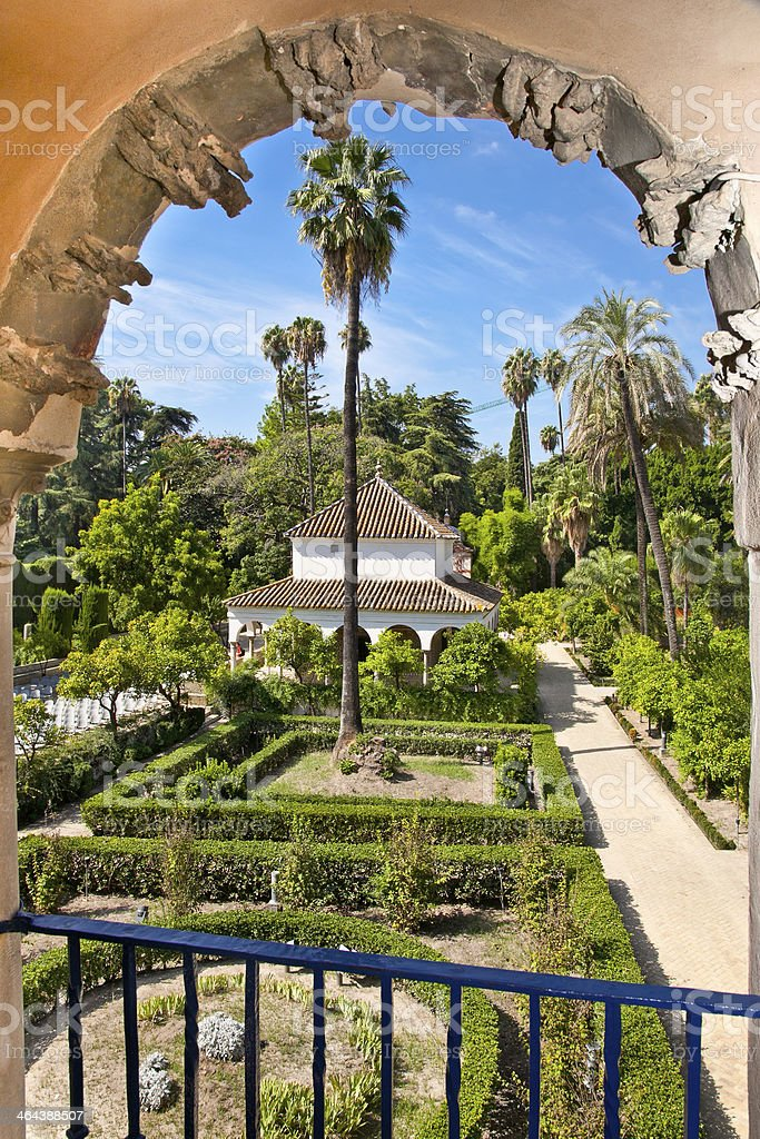 Real Alcazar Gardens in Seville, Spain. stock photo