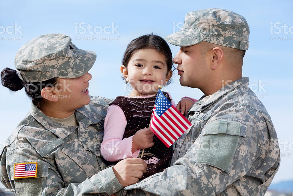 Real American Army Family Outdoor stock photo