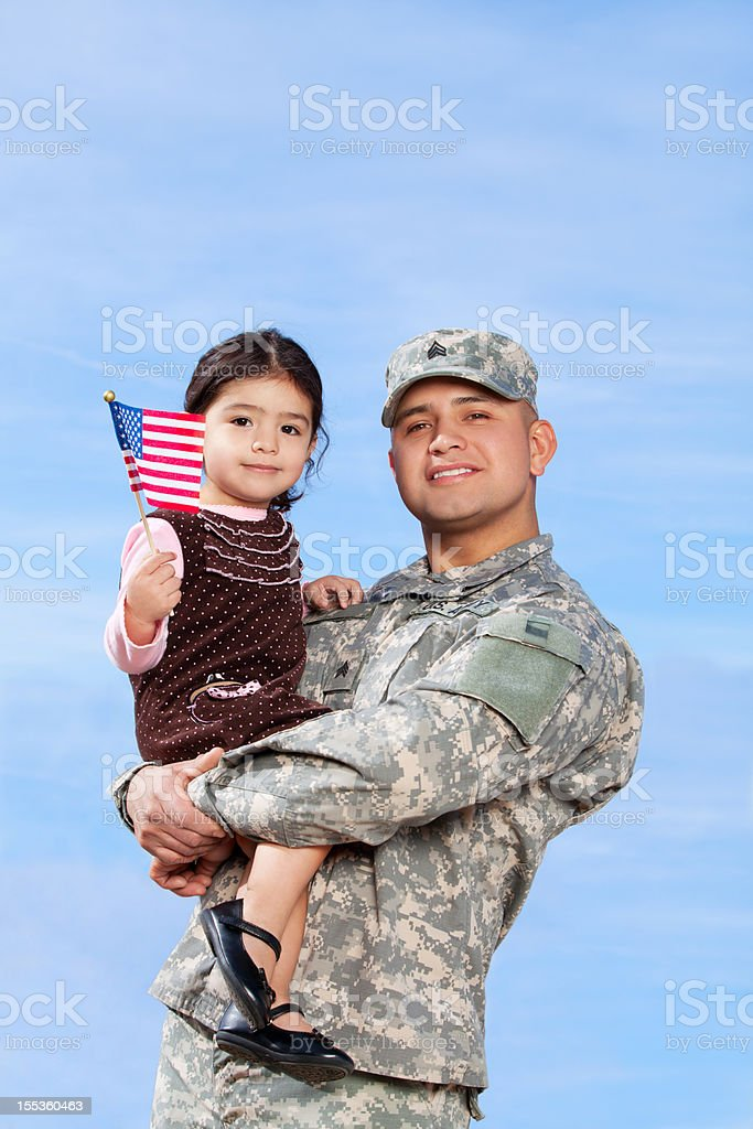 Real American Soldier & Daughter Outdoor royalty-free stock photo