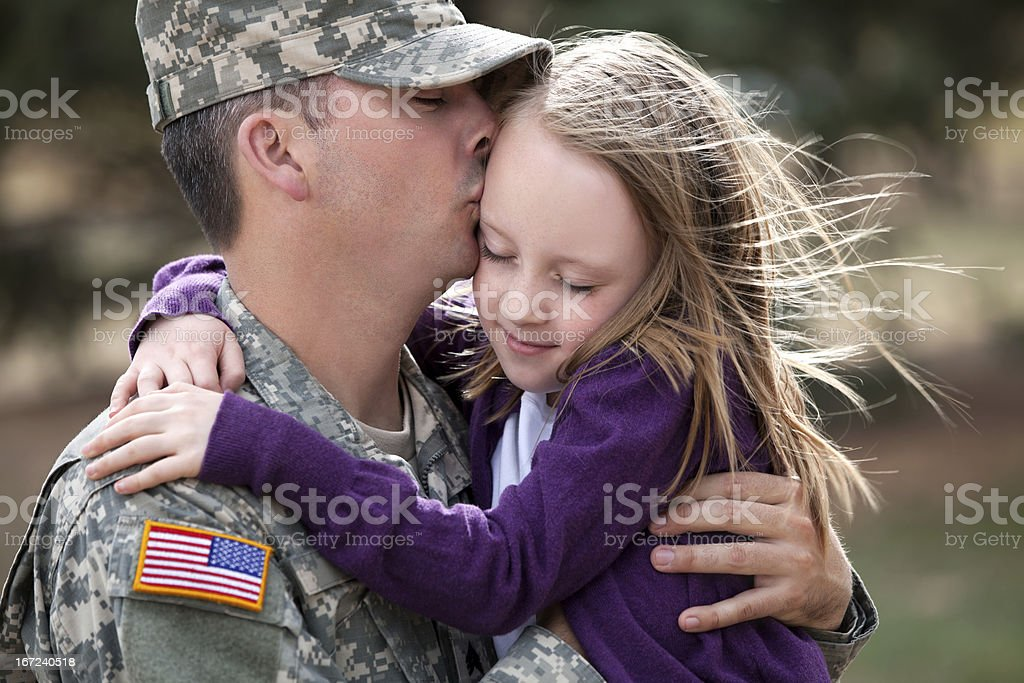Real American Soldier & Daughter Outdoor stock photo