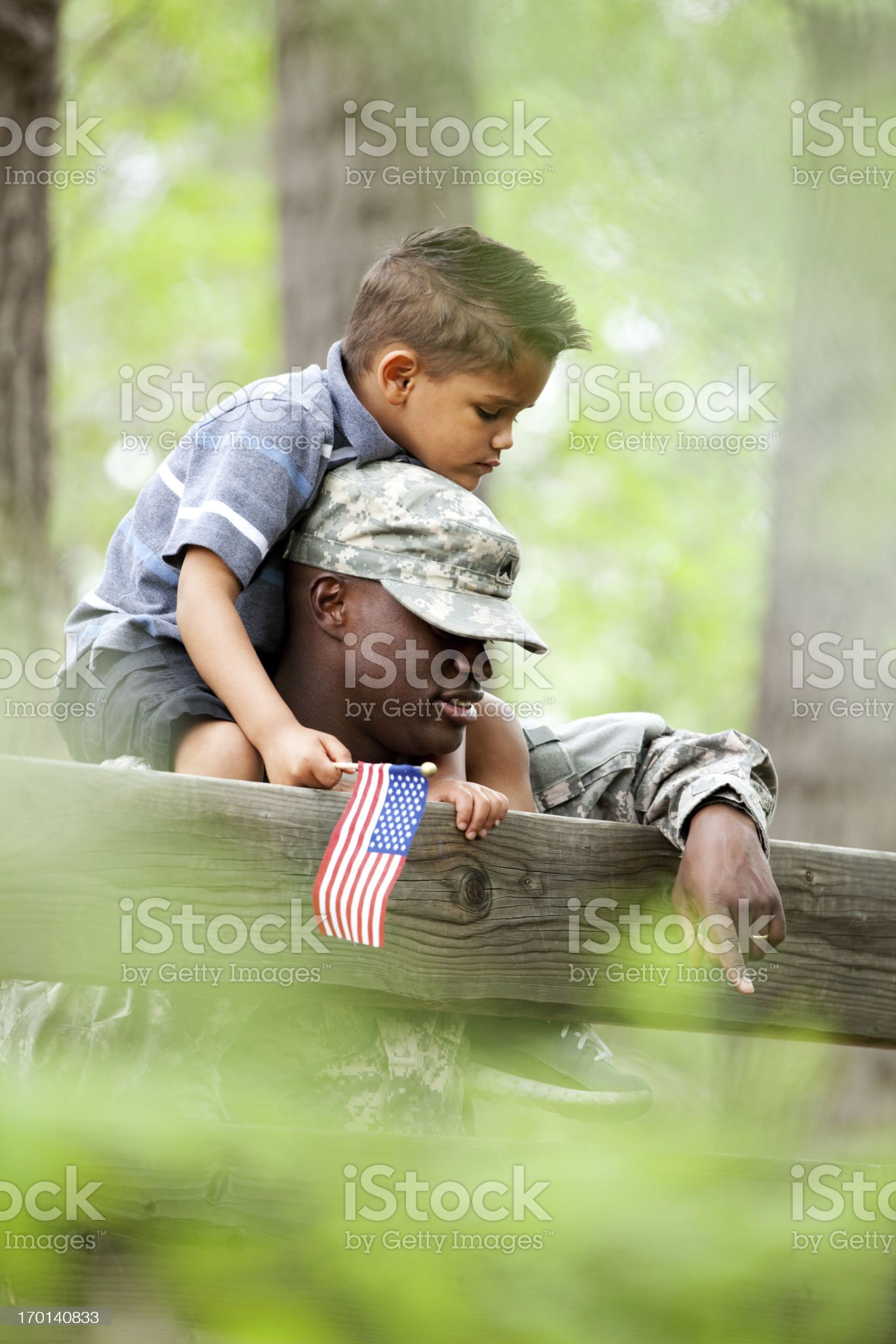 Real American Soldier & Son Outdoor royalty-free stock photo