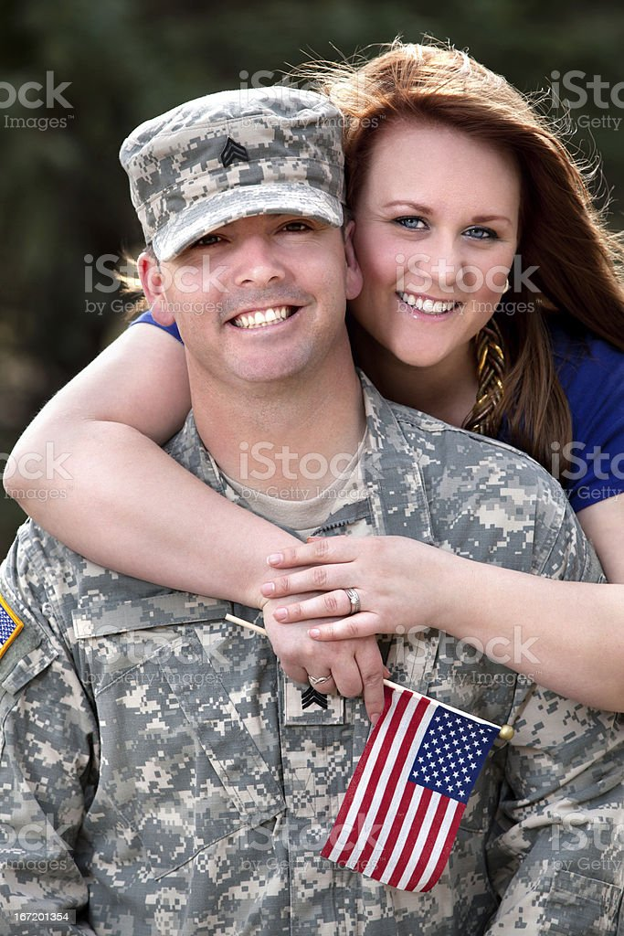 Real American Soldier & Wife Smiling Outdoor royalty-free stock photo
