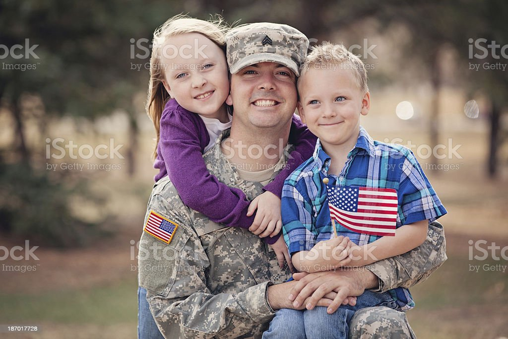 Real Army Family Outdoor stock photo