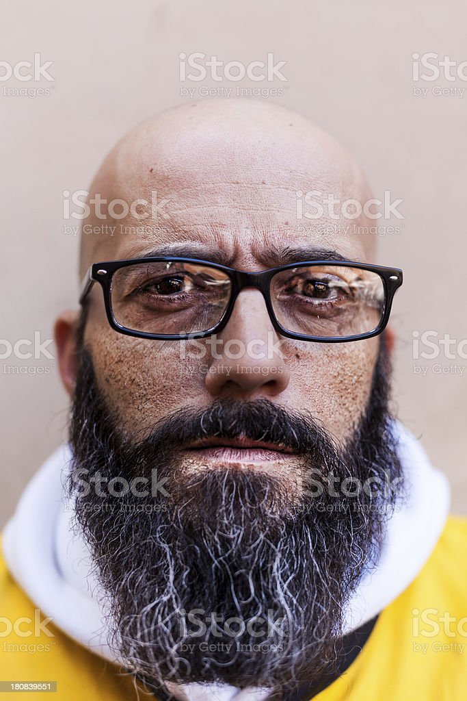 Real Bald Man with Barb and Glasses royalty-free stock photo