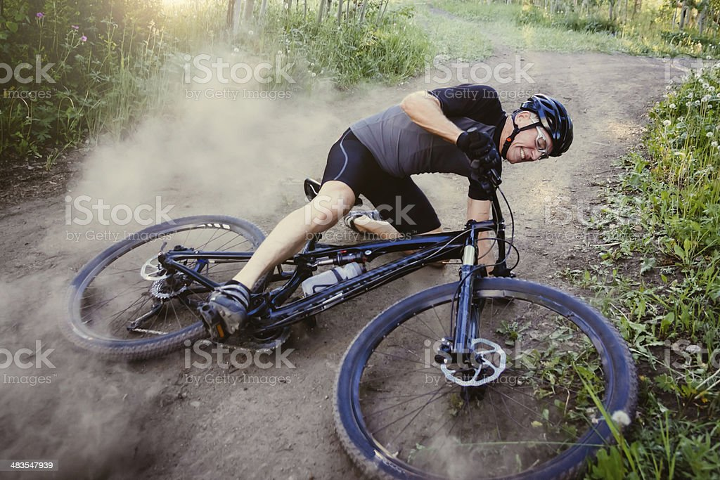 Real Bike Crash Senior Man Mountain Biking stock photo