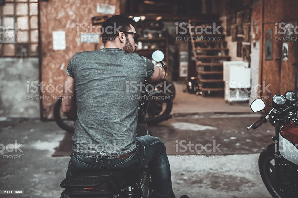 Real biker. stock photo