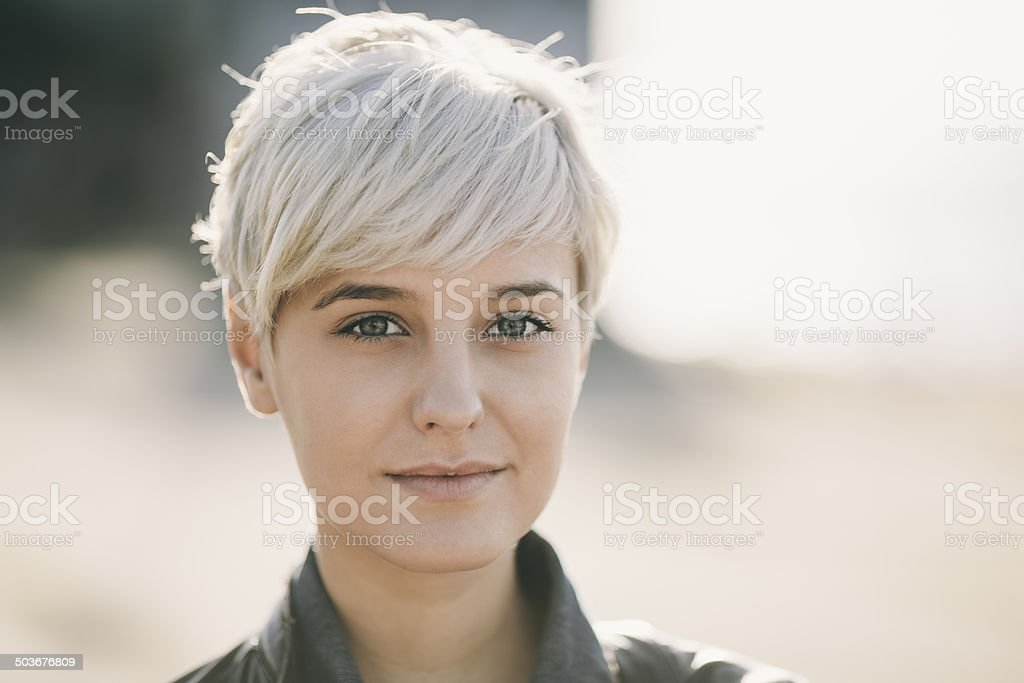 real blonde young woman stock photo