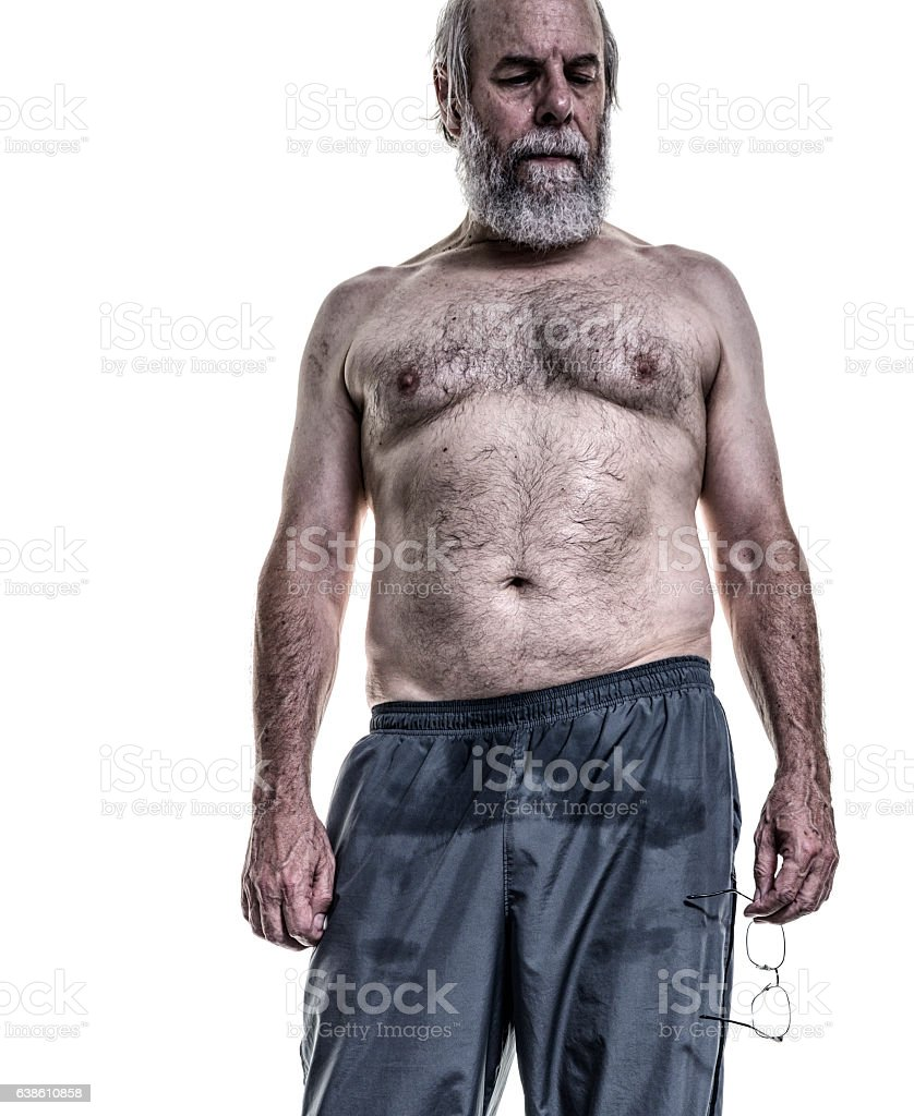 Real Body Senior Adult Man Sweating After Gym Workout stock photo