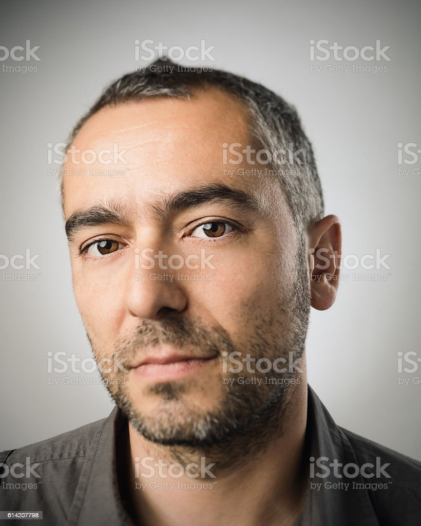 Real caucasian adult man portrait stock photo