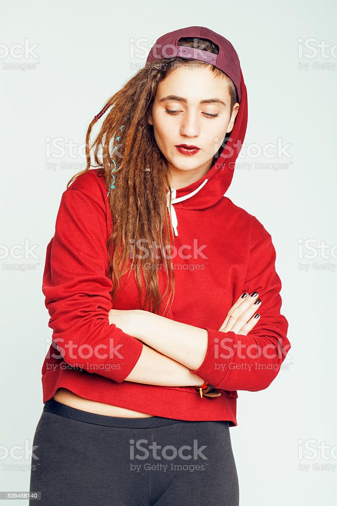 real caucasian woman with dreadlocks hairstyle funny cheerful faces on stock photo