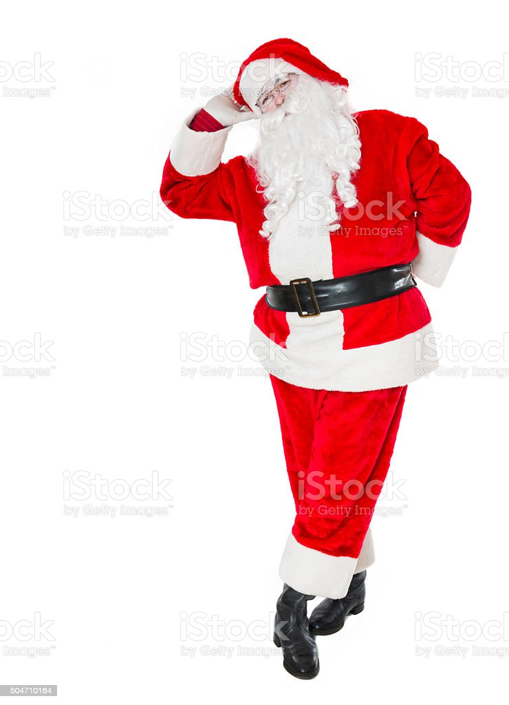 Real Christmas Santa Claus how leaning on Copy Space stock photo