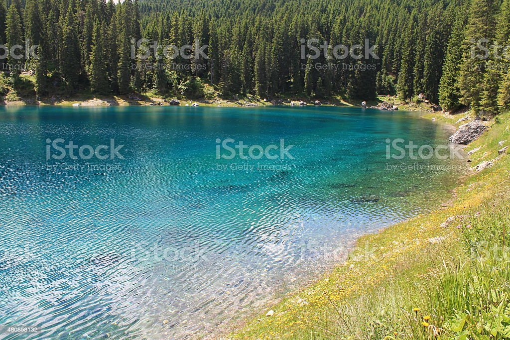 Real color of Lake Carezza stock photo