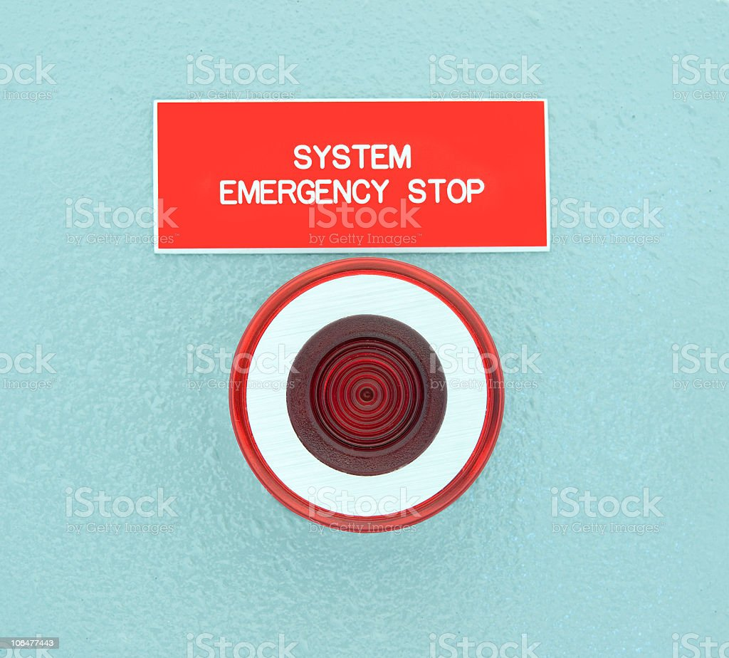 real emergency stop button royalty-free stock photo