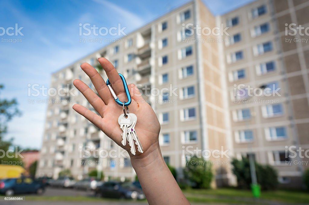 Real estate agent giving flat keys to a new owner stock photo