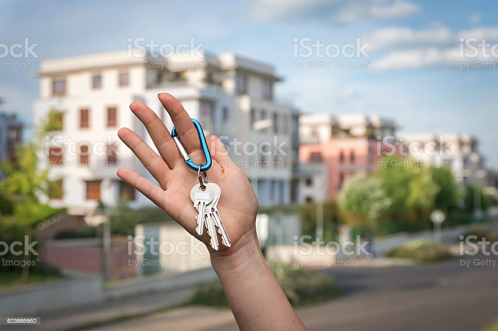 Real estate agent giving house keys to a new owner stock photo