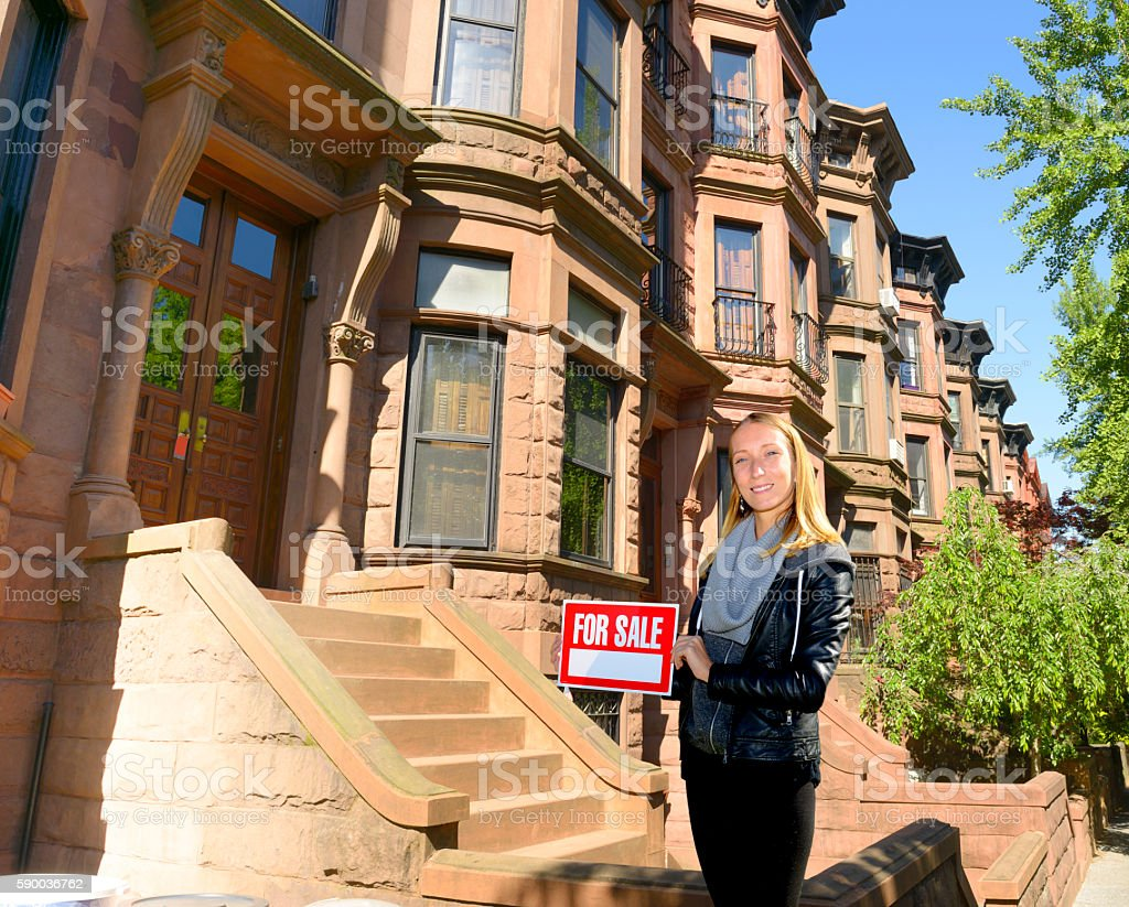 Real estate agent in New York City stock photo