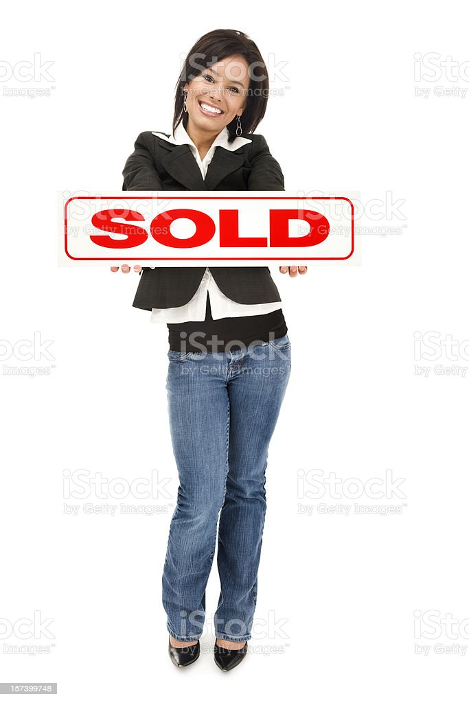 Real Estate Agent with Sold Sign royalty-free stock photo