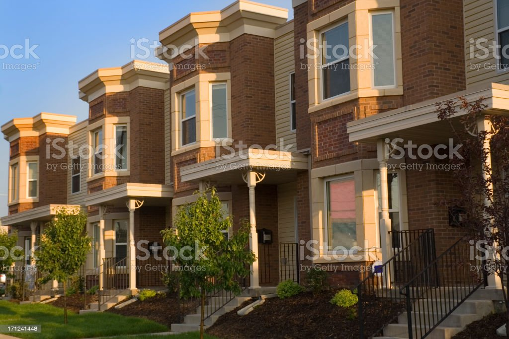 Real Estate Apartment Townhouse Residential Home Building Construction Industry royalty-free stock photo