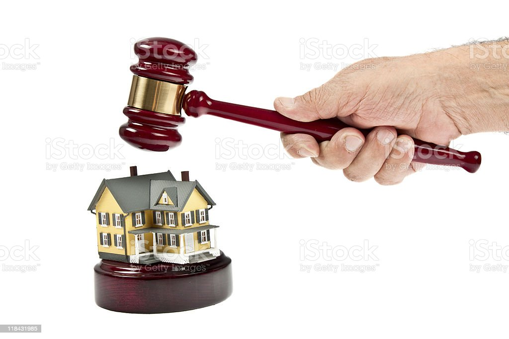 Real Estate Auction concept with gavel and small Josie royalty-free stock photo