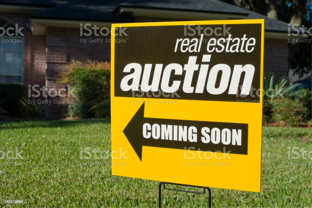 Real Estate Auction Sign stock photo