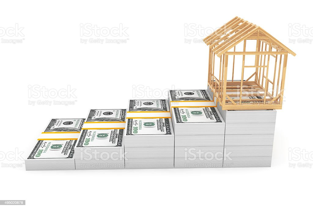 Real Estate Business Concept. House Frame over Money Stack stock photo