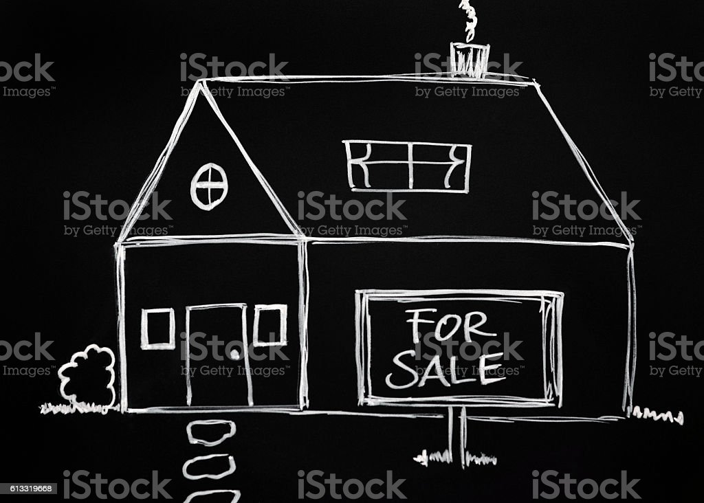 Real Estate Chalk Drawing stock photo
