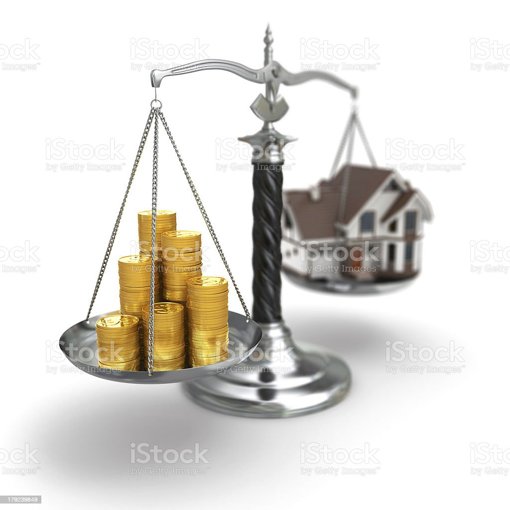 Real estate concept. House and money on scale. royalty-free stock photo