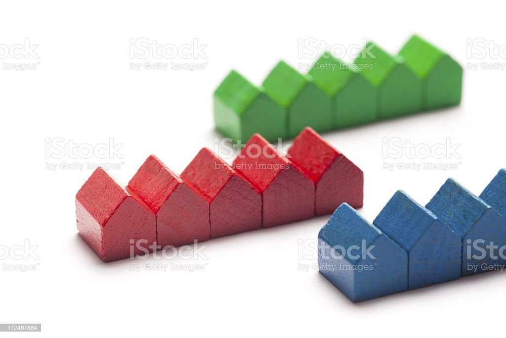 Real estate concepts: Row houses stock photo