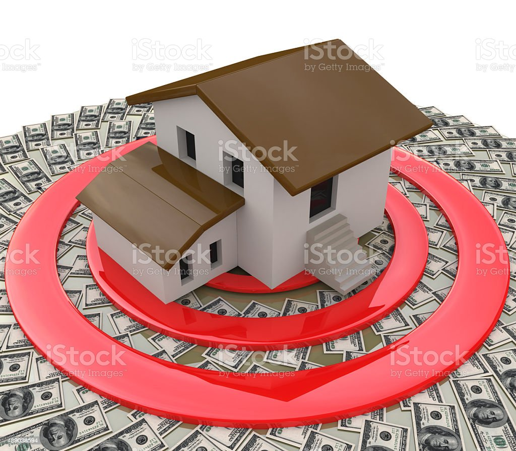 Real estate depicting a house on top of a target stock photo