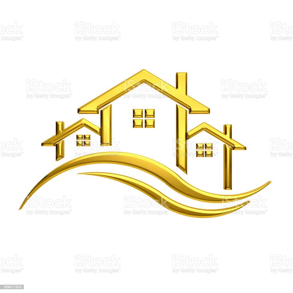Real Estate Golden Homes Illustration. 3D Rendering stock photo