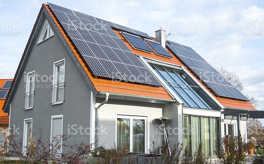 real estate home with garden and solar panels royalty-free stock photo