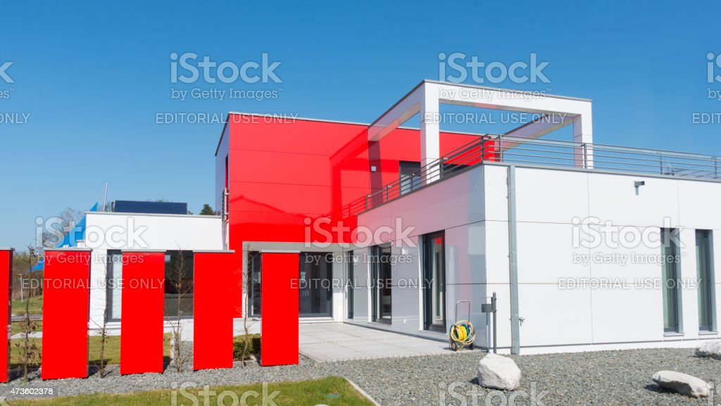 real estate home with garden meadow - Einfamilienhaus stock photo