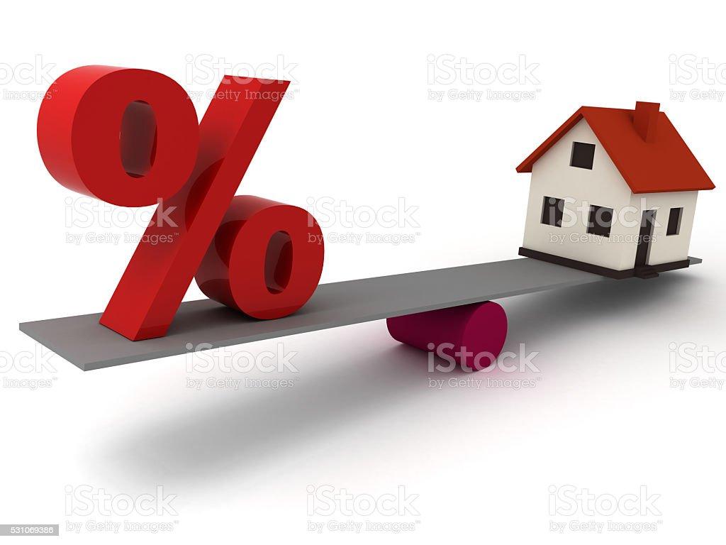 Real estate house mortgage percentage price comparison concept stock photo