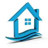 Real Estate House Sign. 3D Rendering Illustration