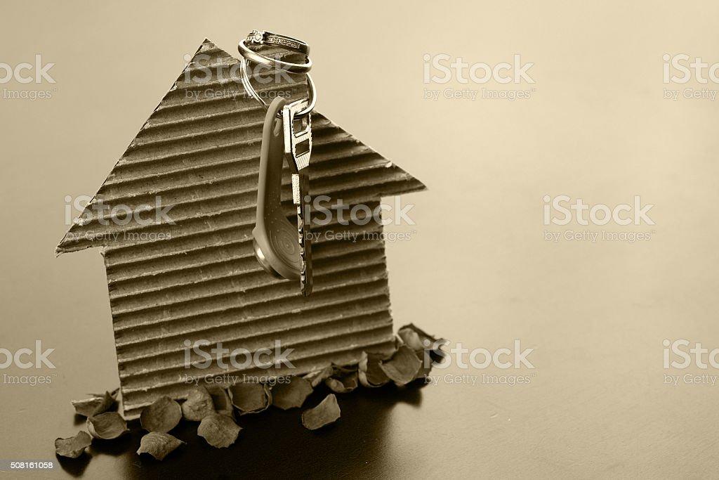 real estate keys paper house stock photo
