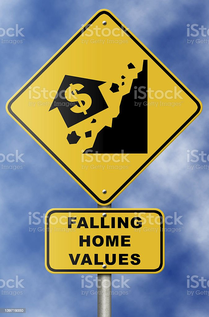 Real Estate Market Collapse Sign on Blue Sky royalty-free stock photo
