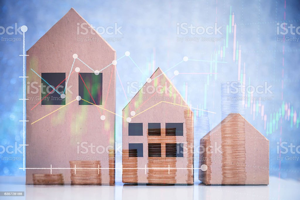 Real estate on the top of coin money stack vector art illustration